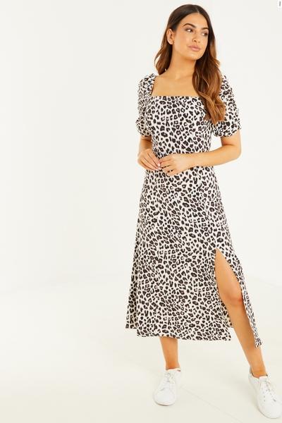 Petite Cream Animal Print Midi Dress